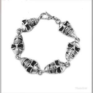 Black Oxidized Stainless Steel Skull Bracelet